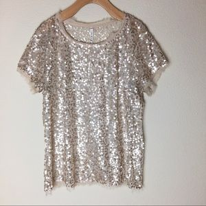 Willow and Clay Gold Sequin Top